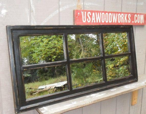 mirror black distressed  window cottage  22 x 42 by usawoodworks, $190.00