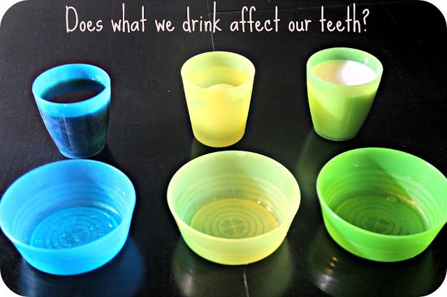 """Dental Health Activity: Use water, milk and pop with hard boiled eggs to show staining on """"teeth"""".  Then use toothbrush and toothpaste to get the pop stained egg clean again!  Great visual for kids!"""