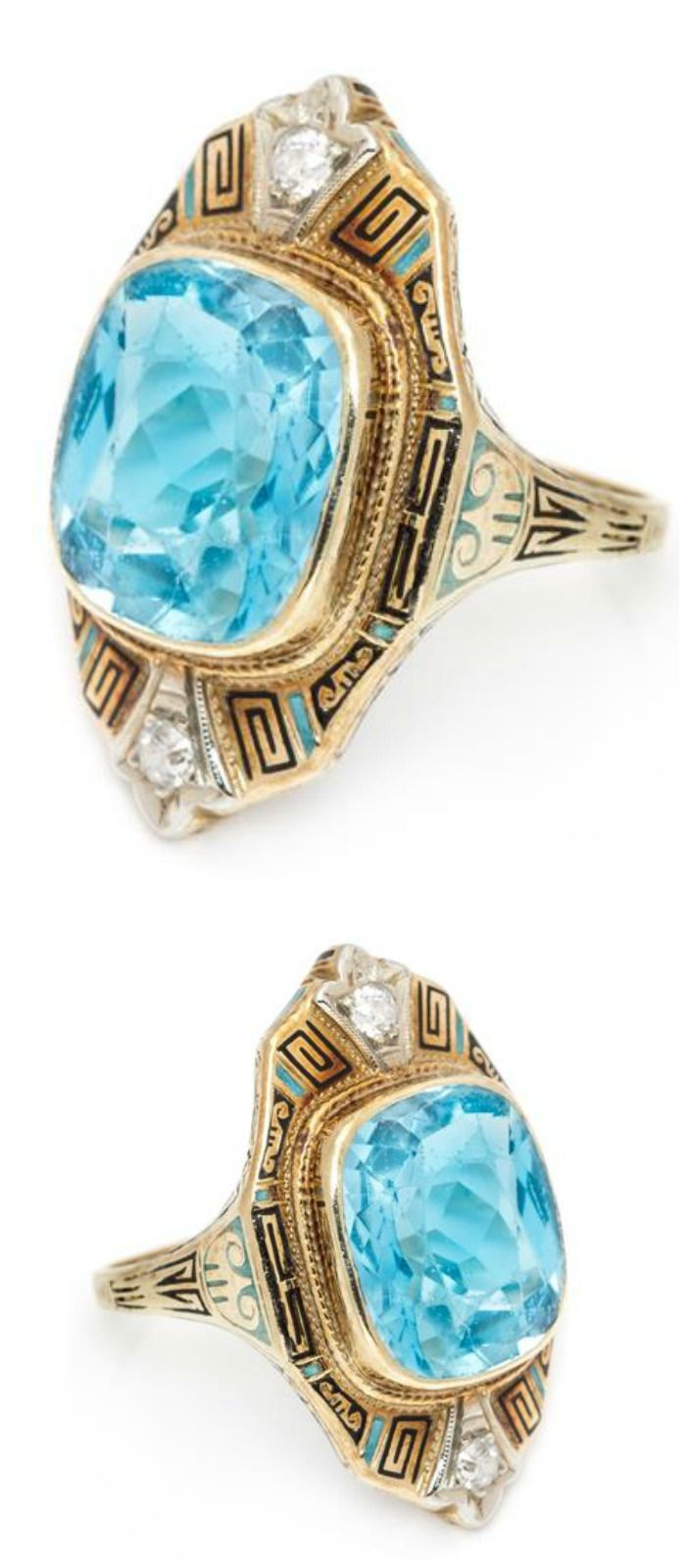 A beautiful antique Art Deco ring with a large aquamarine, accent diamonds, and enamel detailing.