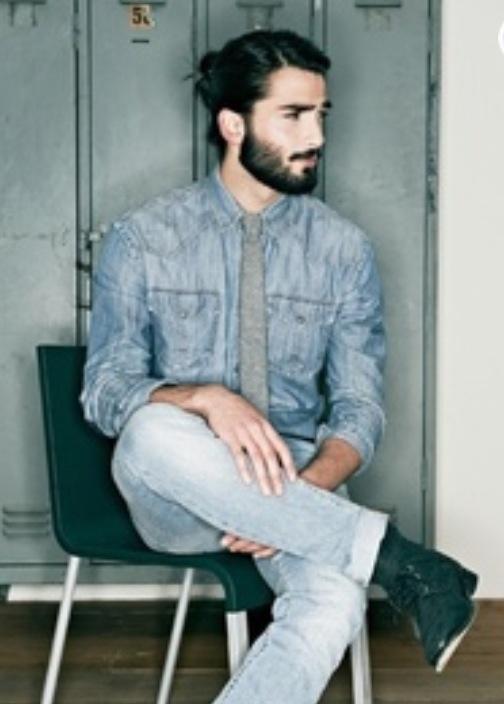 Man bun and beard. Hello. | Guys with long hair | Pinterest