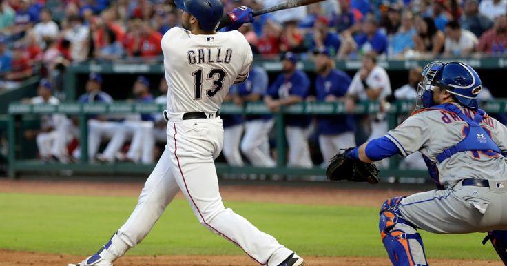 Joey Gallo launches his 17th homer of the season 6-6-2017. The shot scored Adrian Beltre in the 10-8 Rangers win. (AP Photo Tony Gutierrez)