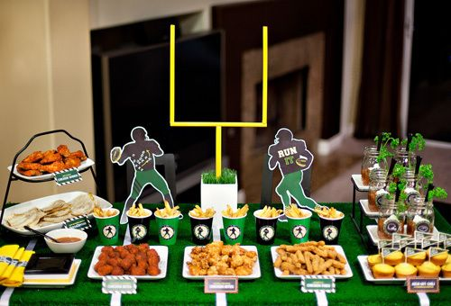 Football snacks table decorations super bowl party for Super bowl party items