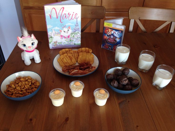 Aristocats Dinner - The Duchess' French Toast Sticks, Toulouse and Berlioz's Bacon, Thomas O'Malley's Hairballs (donut holes), Marie's Milk, Scat Cat's Goldfish, Créme de la Créme a la Edgar (vanilla pudding) - Aristocats Movie Night - Disney Movie Night - Family Movie Night
