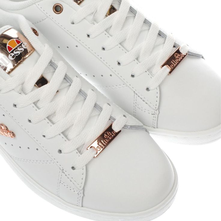 womens ellesse white & rose gold anzia trainers