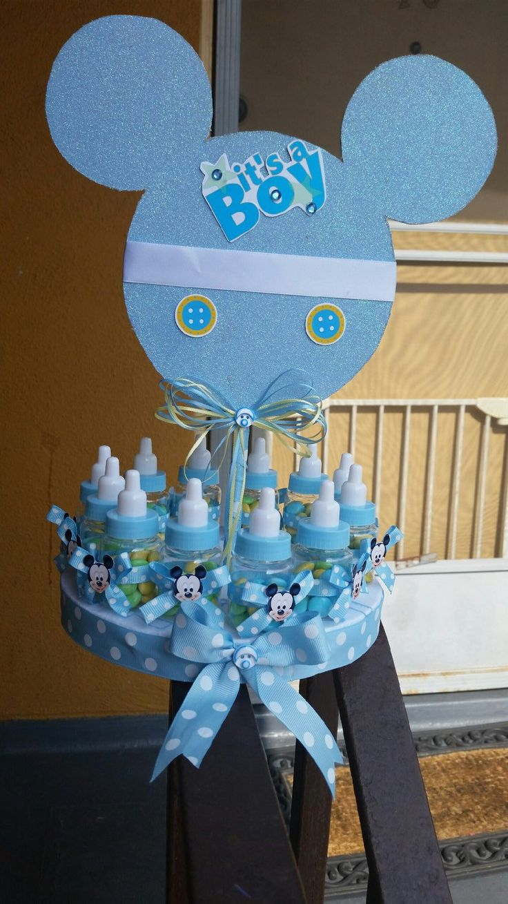 Mickey Mouse Baby Shower Centerpiece With Baby Bottle Favors