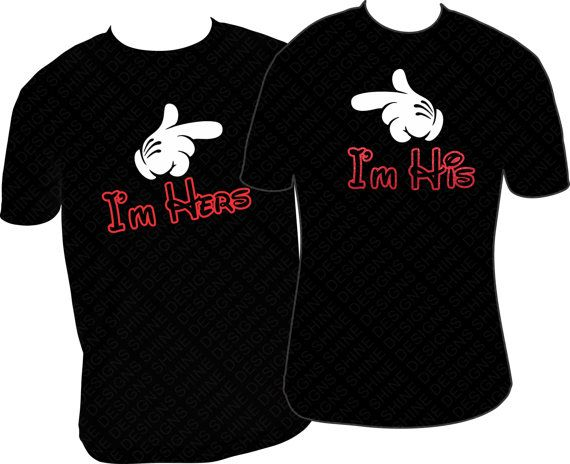 Disney Couple Shirts I'm Hers I'm His Couple by MPShineDesigns