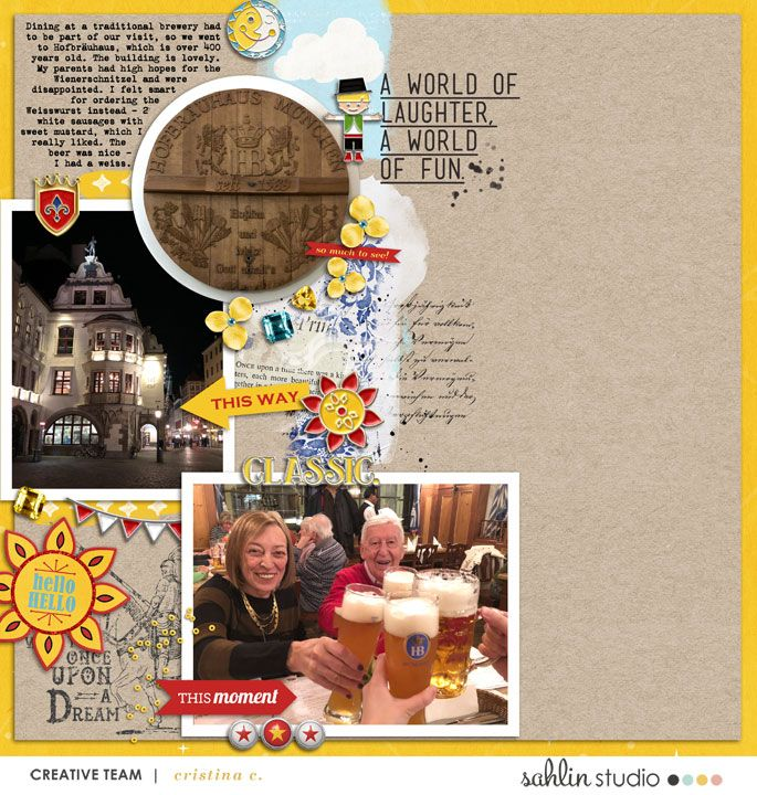 Germany Pub Beer House digital project life page using Project Mouse (Fantasy): Enamel PIns and Artsy by Britt-ish Designs and Sahlin Studio