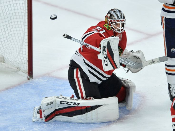 Chicago Blackhawks goalie Anton Forsberg of Sweden makes a save during the second period of an NHL hockey game against the Edmonton Oilers Thursday, Oct. 19, 2017, in Chicago. (AP Photo/Paul Beaty)