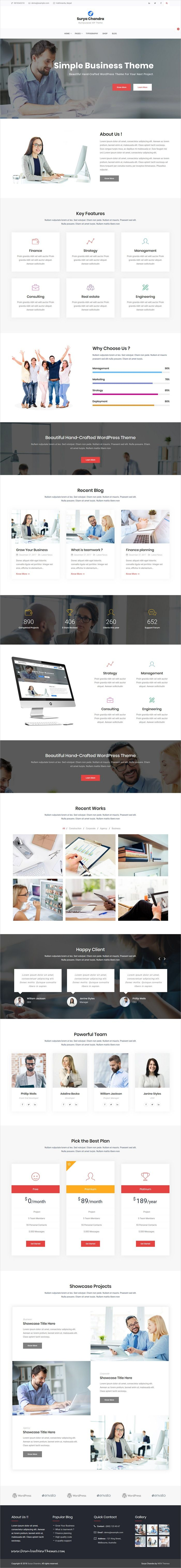 Surya Chandra is clean and modern design 5in1 #responsive WordPress #theme for business #agency and professional services website to live preview & download click on Visit