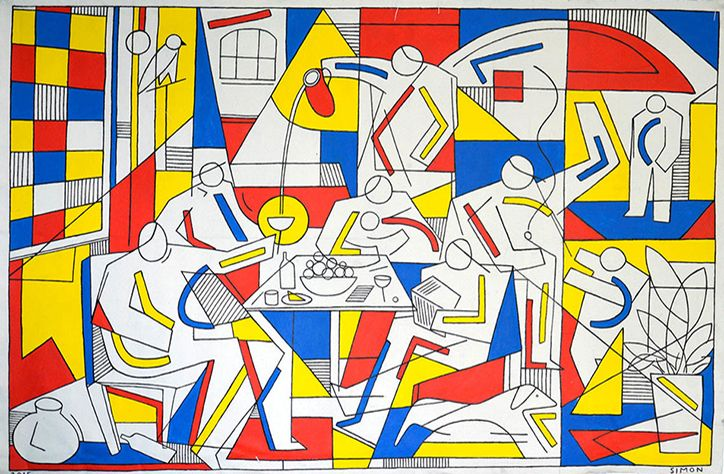 Blending a range of styles and motifs, American artist Simon Cooper's collection of primary coloured works are inescapably easy on the eye. Using simple line work, white silhouetted figures and coloured shapes, his work is a hybrid of Mondrian and cubism. While we see so much work inspired by the internet and other modern phenomena, it's interesting to see Simon take his work back to basics and draw from more traditional sources.