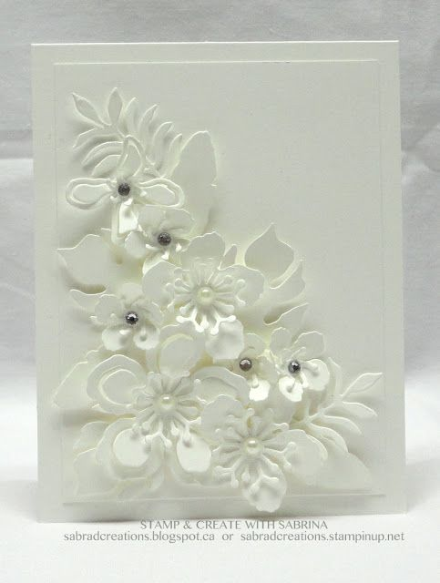 Stamp & Create With Sabrina: Two All White Botanical Builder Cards