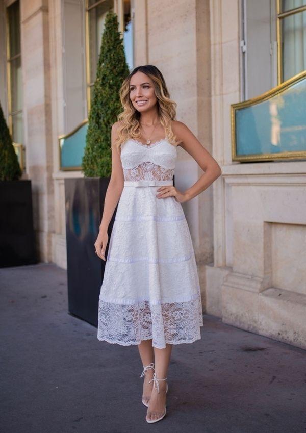 vestido branco midi, perfeito para  casamento civil ou missas de batizado e formatura | Vestido de festa midi in 2019 | Simple long dress, Dresses, Fashion