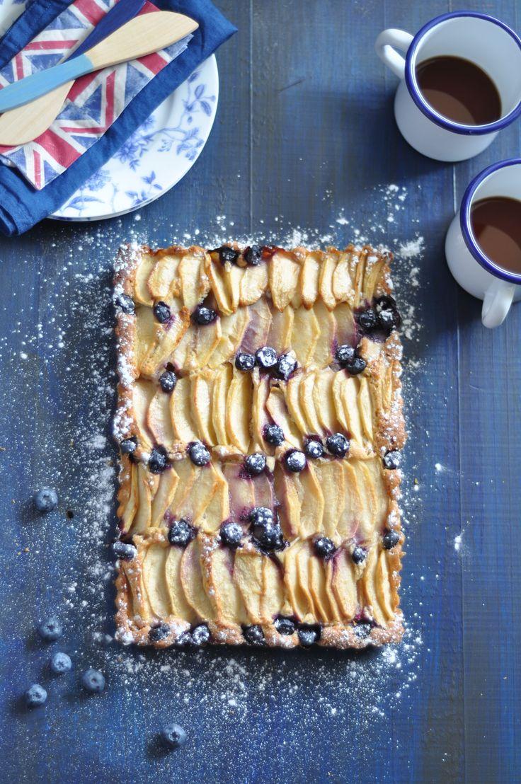Receta de pastel de manzana y arándanos