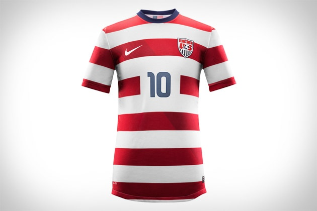 Hope you like stripes, because if you plan on sporting the same kit that the USA will be wearing, you'll surely be wearing them. The new Nike US National Team Soccer Jerseys feature a design inspired by our flag, with red and white stripes dominating the top, paired up with blue shorts, and white socks with blue stripes at the top, as well as Dri-FIT technology, laser-cut ventilation, and a shot of eco-friendliness, thanks to each kit being made from an average of 13 recycled plastic bottles.: Soccer Jerseys, Nike Soccer, Awesome, Discount Nike, Usa Soccer, Nikes, Things