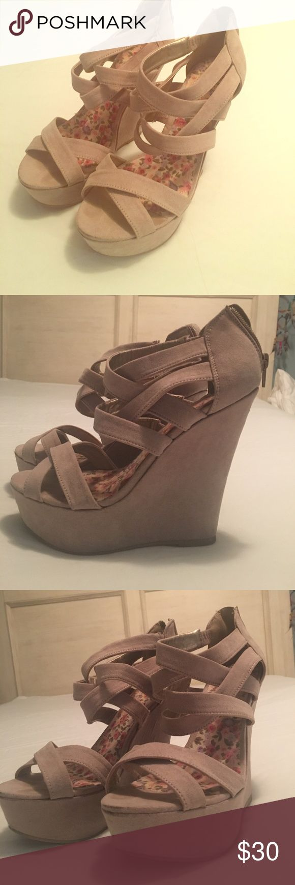 4 inch wedge sandals Cream/nude colored sands wedges, size 7.5, 4inch heel height with 1inch platform Qupid Shoes Wedges