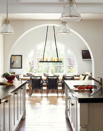 light and airy: Breakfast Rooms, Dining Rooms, House Beautiful, Dreams Kitchens, Idea, Lights Fixtures, Arches, Design Kitchens, White Kitchens
