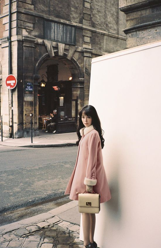 Korean fashion | pink fur coat www.milkcocoa.co.kr
