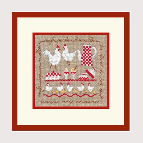 kit de broderie au point de croix points comptés : cuisine les poules Au Bonheur des Dames