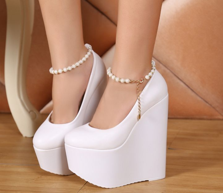 Women Pointy Toe Platform Shoes Gladiator High Heel Wedge Ankle Strap Shoes 18Cm #platformhighheelspump #platformhighheelsanklestraps
