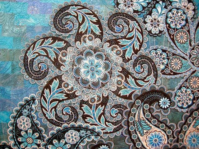 Detail from A Pocket Full of Paisleys, by Lorilynn King, Embellished Quilts category at Houston International Quilt Show 2013