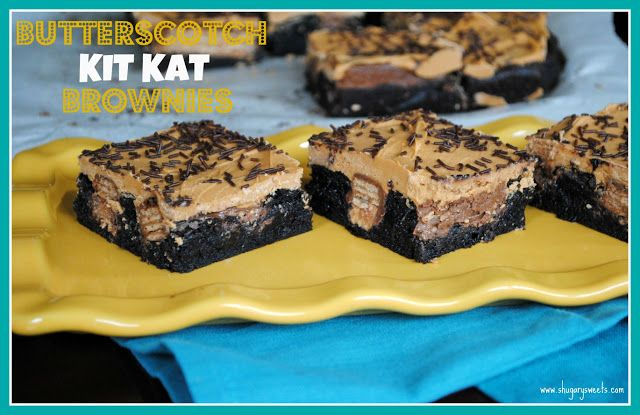 Butterscotch Kit Kat Brownies - Shugary Sweets