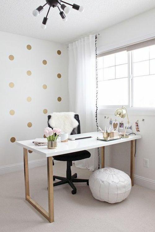 schreibtisch selber bauen diy büro weiße holzplatte gold matt