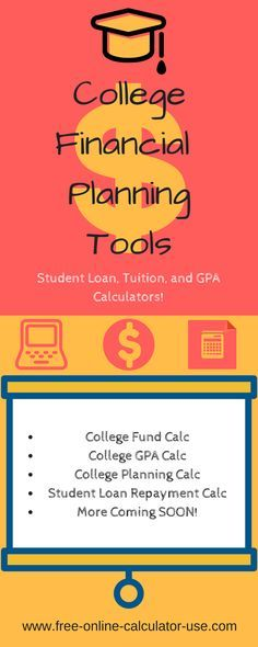 The college financial planning tools and calculators in this section are dedicated to helping you plan and save for your child's future college education, as well as to help you calculate student loan payback, the opportunity costs of a college education, GPA, and more.