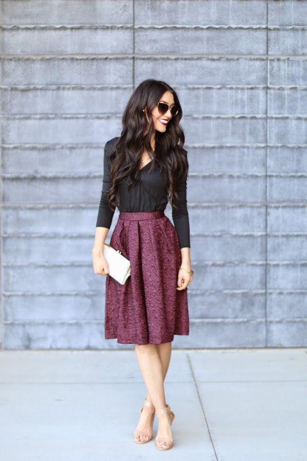 cranberry brocade full skirt + black blouse + nude heels
