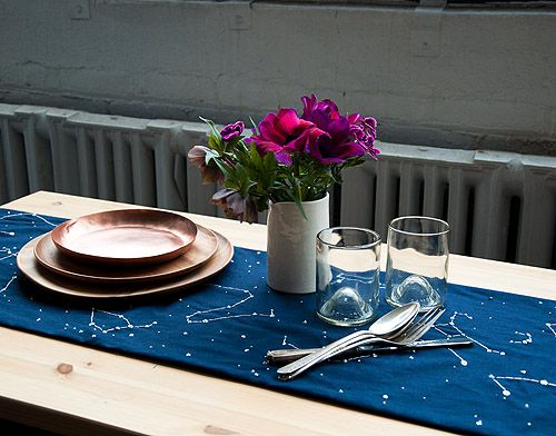 constellation embroidered table runner