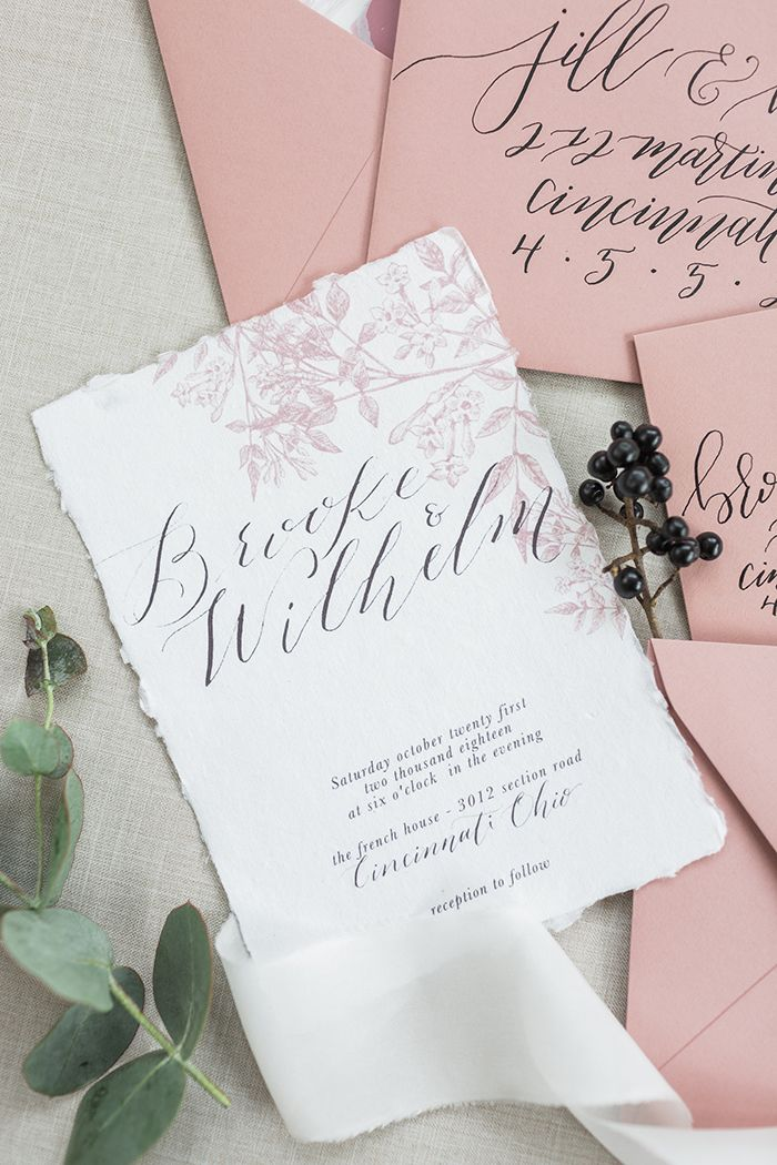 Spring Floral Invitations in Mauve and Black  https://heyweddinglady.com/blush-mauve-wedding-inspiration-rainy-garden/    #wedding #weddings #weddingideas #engaged #pink #pinkweddings #mauve #stationery #weddinginvitations #invitations