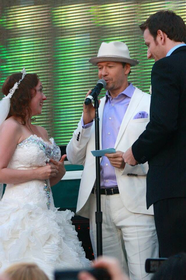 Couple getting married on the boat. Donnie officiated and Joey walked her down the isle.