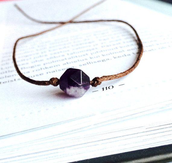 Amethyst wish bracelet Friendship bracelets minimalist by DRISAIN