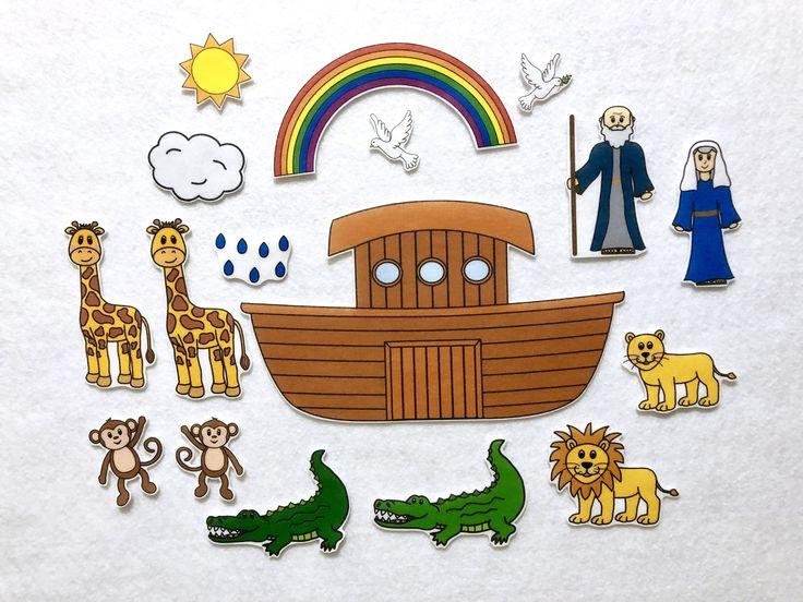 Noah's Ark Felt Stories 17 Piece Set - Bible Felt Story - Sunday School Activities - Busy Bag - Speech and Language - Toddler Pretend Play by KidmunicationFun on Etsy https://www.etsy.com/listing/587933161/noahs-ark-felt-stories-17-piece-set