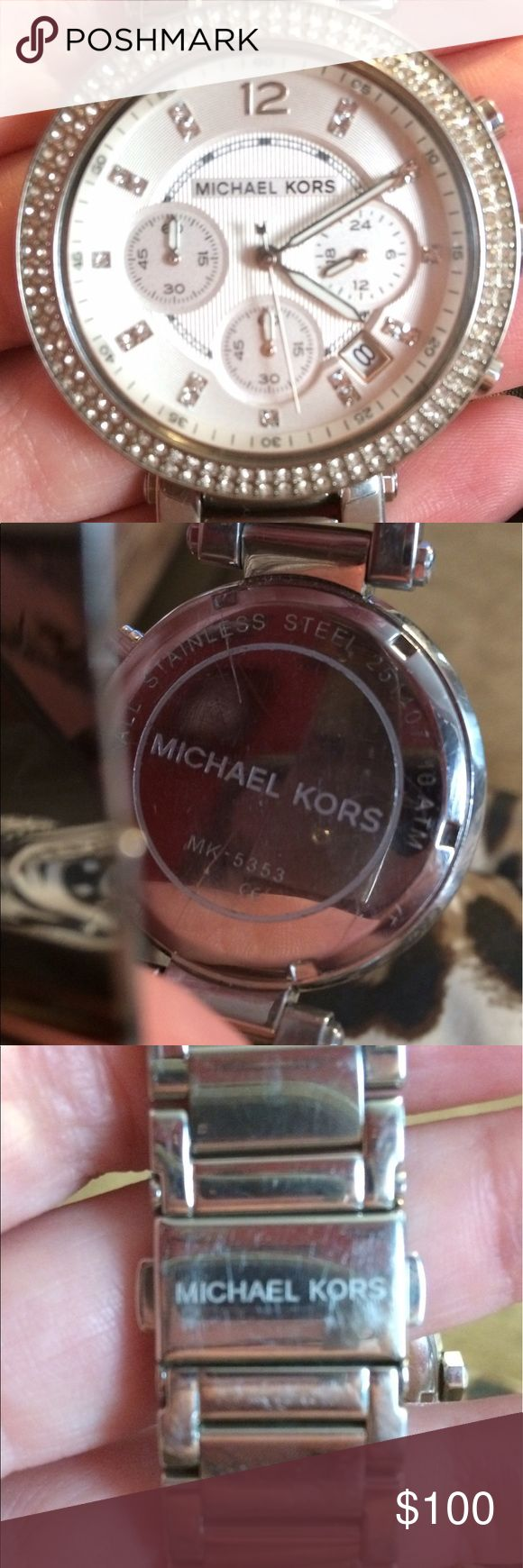 ❗️MAKE AN OFFER❗️Michael Kors Watch Michael Kors MK5353 watch is in excellent condition. Has all the diamonds and there are no scratches or scuffs on the face. It has a couple minor scratches on the back but nothing major. Also there is some light scratches on the links from normal wear but nothing too noticeable. It is 100% authentic. Any questions just ask thanks for your time! MAKE AN OFFER!! Michael Kors Accessories Watches