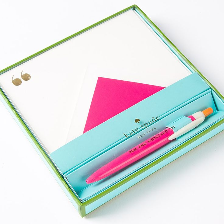 Pink Quotes Pen & Flat Correspondence Card Set by Kate Spade New York Price $29.95