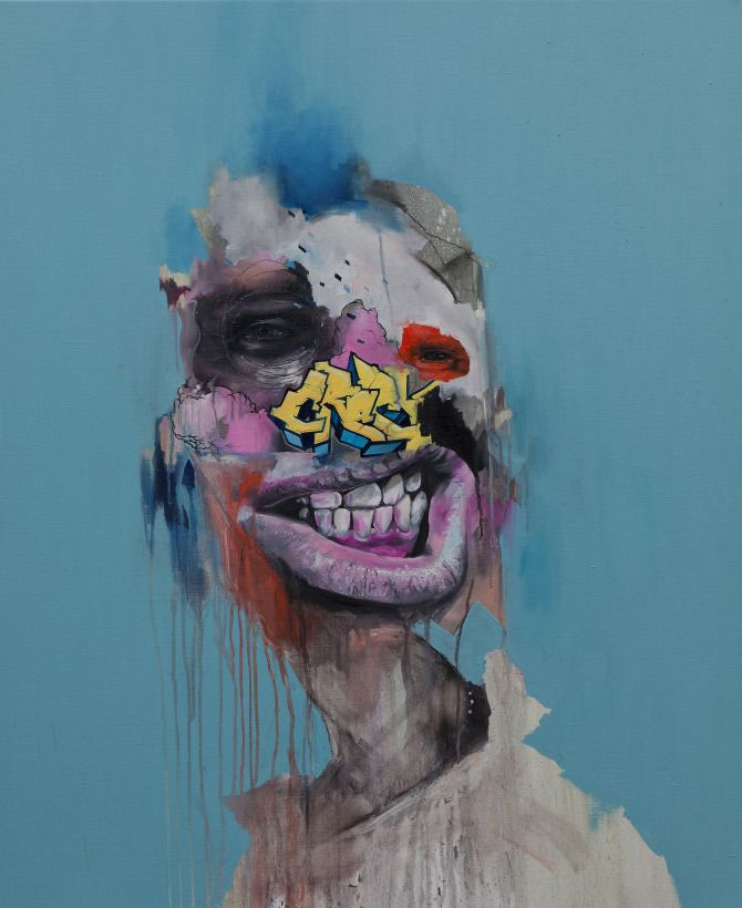 RedEye - Joram Roukes  This image is like the amalgamation of emotional confusion with the facade stripped off, exposing what;s underneath to the rest of the world. The graffiti speaks to a person's connection to their community and internalization of outside circumstances. Artist Research