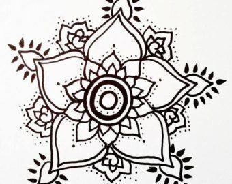 Lotus Temporary Tatto With Paisley Henna Style Petals Hand Drawn Illustration,  #diytattootem…