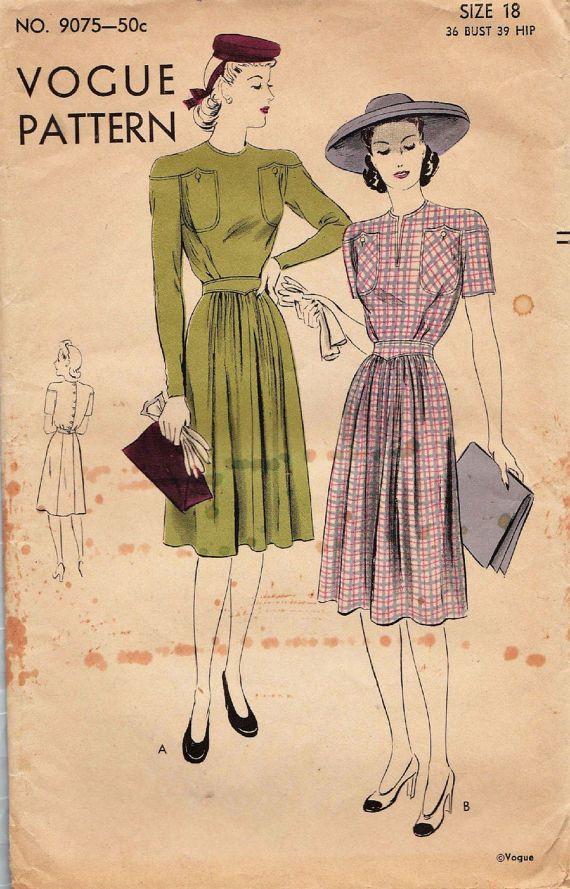Patrón de costura Vintage años 1940 / Vogue 18 9075 / vestido