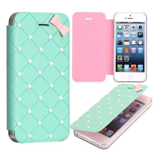 Groen / roze elegante sideflip hoes voor iPhone 5 / 5S