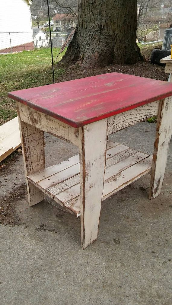 Reclaimed Wood End Table Nightstand Rustic Two Tone Nightstand End Table Primitive Side Table Shabby Chic Pallet Wood