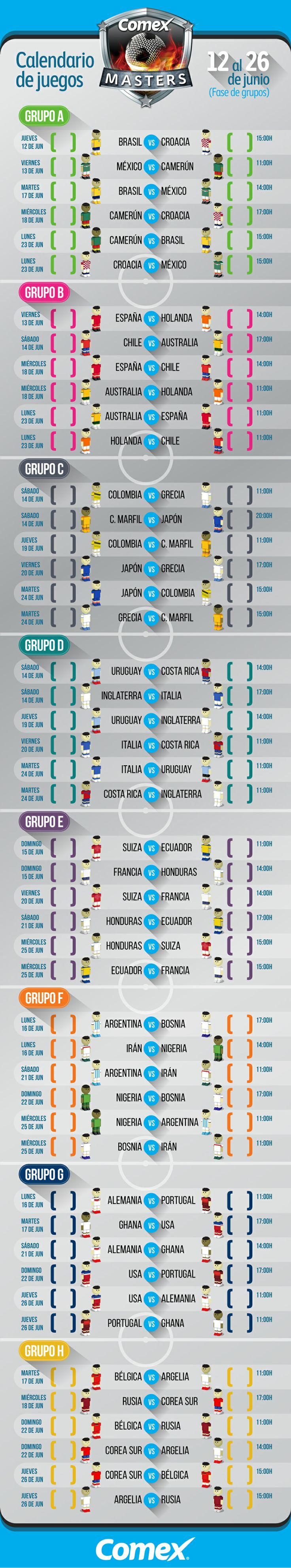 Calendario de juegos de la fase de grupos del Mundial Brasil 2014