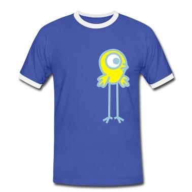 Een kleine cartoon vogel met een oog en lange benen, van de eenogige vogels stam. Vector grafische geschikt voor plotprinten, flex en flock. U kunt de kleuren van de afbeelding. T-shirts.