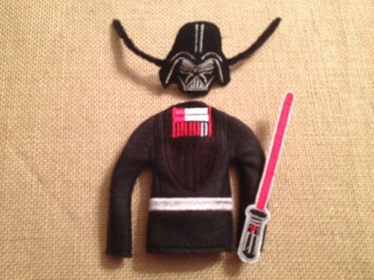 """Elf Darth Vader Sweater with Mask and Light Saber for your favorite Elf or 12"""" Doll by LoveOnANeedle on Etsy"""