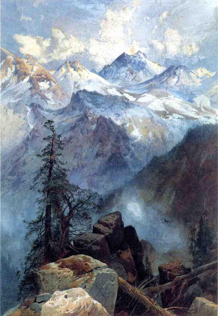 "Thomas Moran, ""Summit of the Sierras,"" 1875, Gouache over graphite, on cream laid paper 360 x 250 mm"