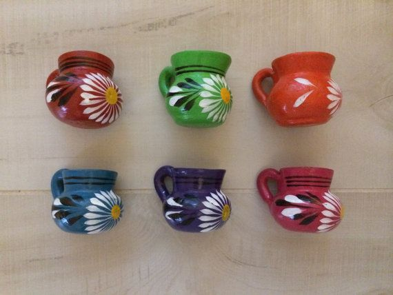 75 Mini Party Favor Mexican Pottery Mug Tequila by vivalapress