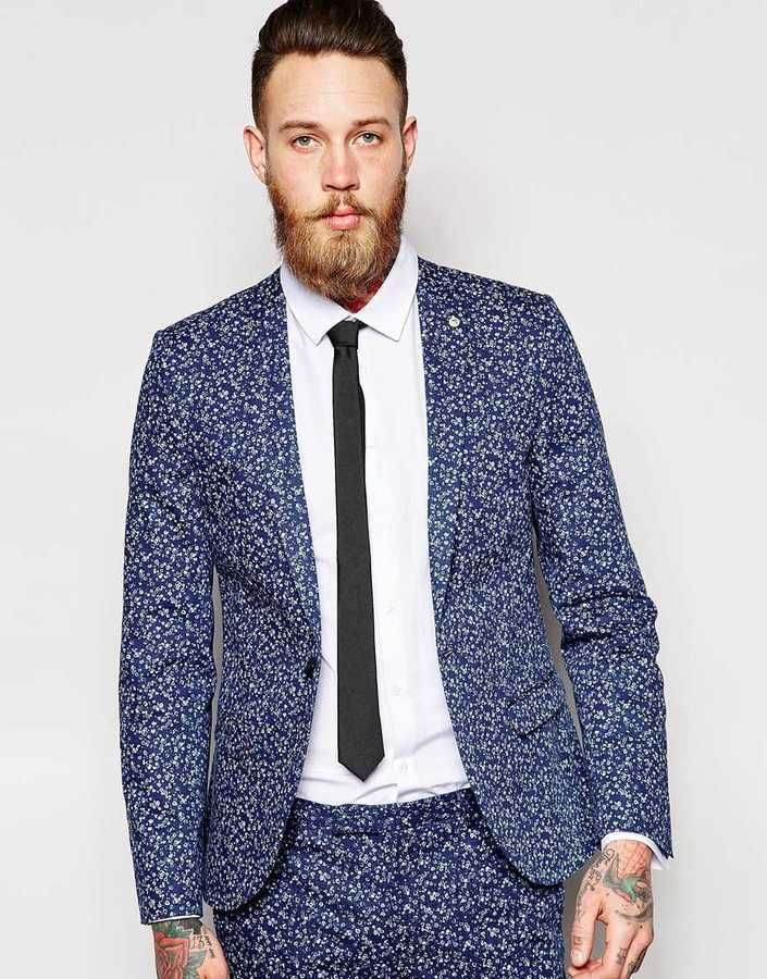 $253, Navy Floral Blazer: Noose Monkey Noose Monkey Printed All Over Ditsy Floral Suit Jacket In Skinny Fit. Sold by Asos. Click for more info: https://lookastic.com/men/shop_items/293654/redirect