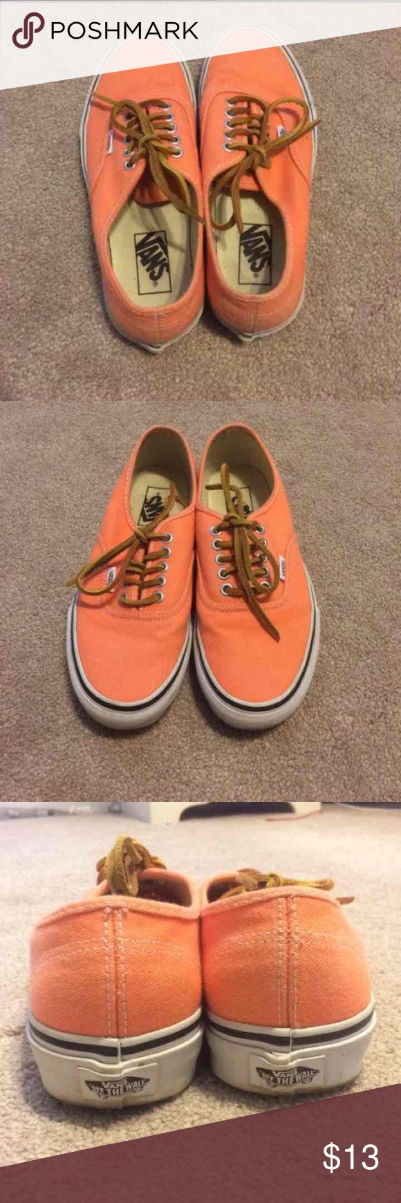 Coral Vans Coral colored vans with leather laces in good condition! Vans Shoes Sneakers