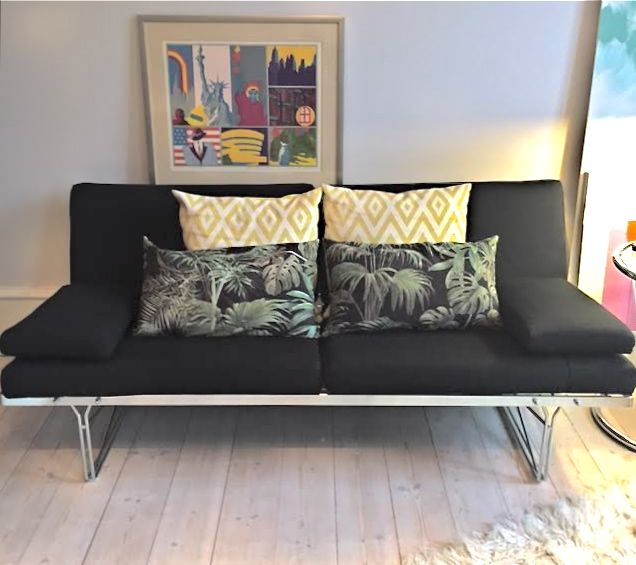 Moment Sofa designed by Danish designer Niels Gammelgaard for IKEA in the early 80's. The pillows are removable and has original black fabric, Incl. two removable armrest pillows. The pillow casings are washable. The condition remains close to perfect all over. Dimensions (W x D x H): 170 × 80 × 72 cm epokerum@gmail.com #epokerum #forsale #tilsalg #moment #nielsgammelgaard #vintagesofa