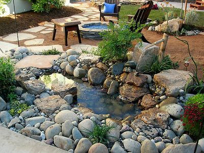 Quick and easy little pond for your garden DIY - This is pretty, love the round rocks rather than flat ones!