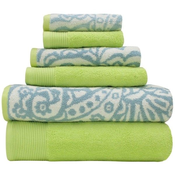 Amrapur Yarn Dyed Paisley 6 Piece Towel Set Blue Lime